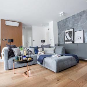 Jasny salon urządzony w szarościach ociepla drewno zastosowane na podłodze. Projekt: Decoroom. Fot. Pion Poziom