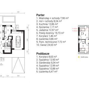 Rozkład pomieszczeń w domu. Projekt: pracownia Archipelag