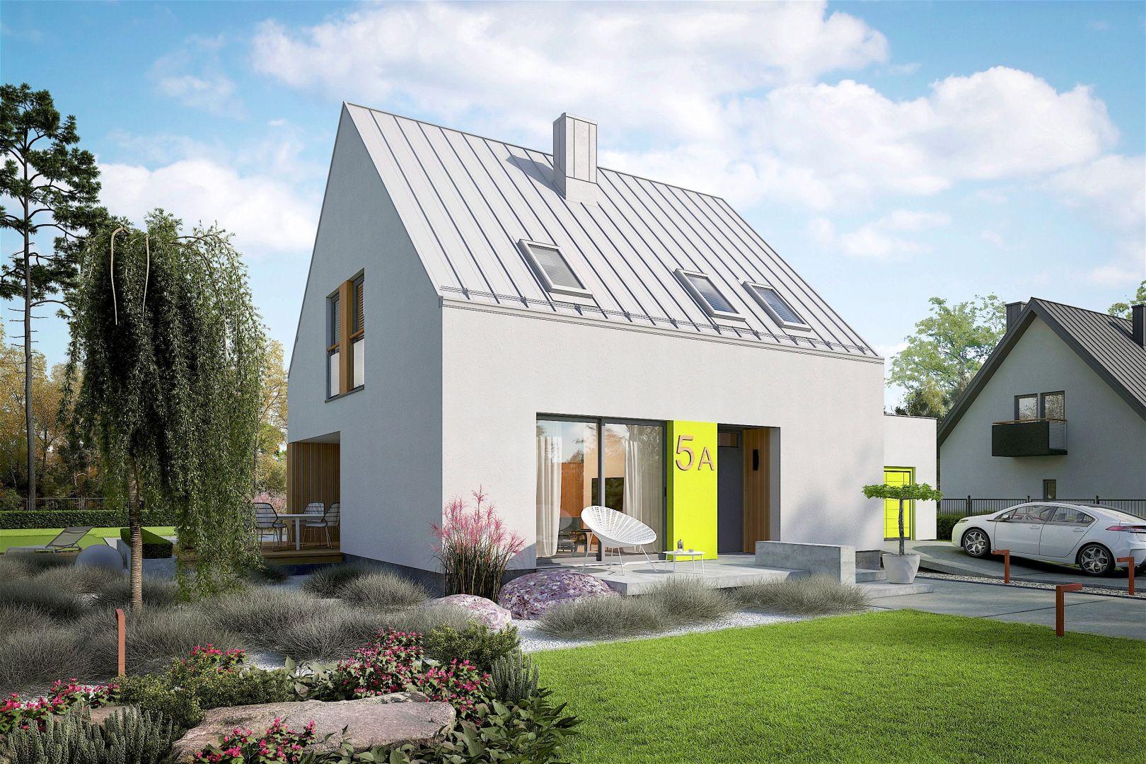 Frontową fasadę domu pogodnie ożywiają limonkowe akcenty, dzięki którym minimalistyczny projekt zyskuje oryginalny, indywidualny charakter. Projekt: pracownia Archipelag