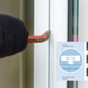 Na odporność okna na włamanie mają wpływ precyzyjnie skonfigurowane okucia, czyli posiadające określoną ilość stalowych zaczepów, specjalną klamkę z kluczykiem i wzmocnienie przeciwrozwierceniowe. Fot. Winkhaus