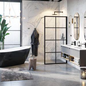 Ścianka prysznicowa seria Fabrika, zestaw prysznicowo-wannowy podtynkowy seria Keria. Fot. Excellent