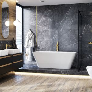 Zestaw prysznicowy złoty typu Rain seria PI, ścianka prysznicowa Fabrika. Fot. Excellent
