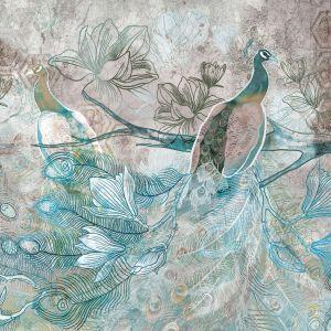 Tapeta Dream od Freedom z rysunkiem pięknego pawia. Cena: od 170 zł/me. Marka: Walltime