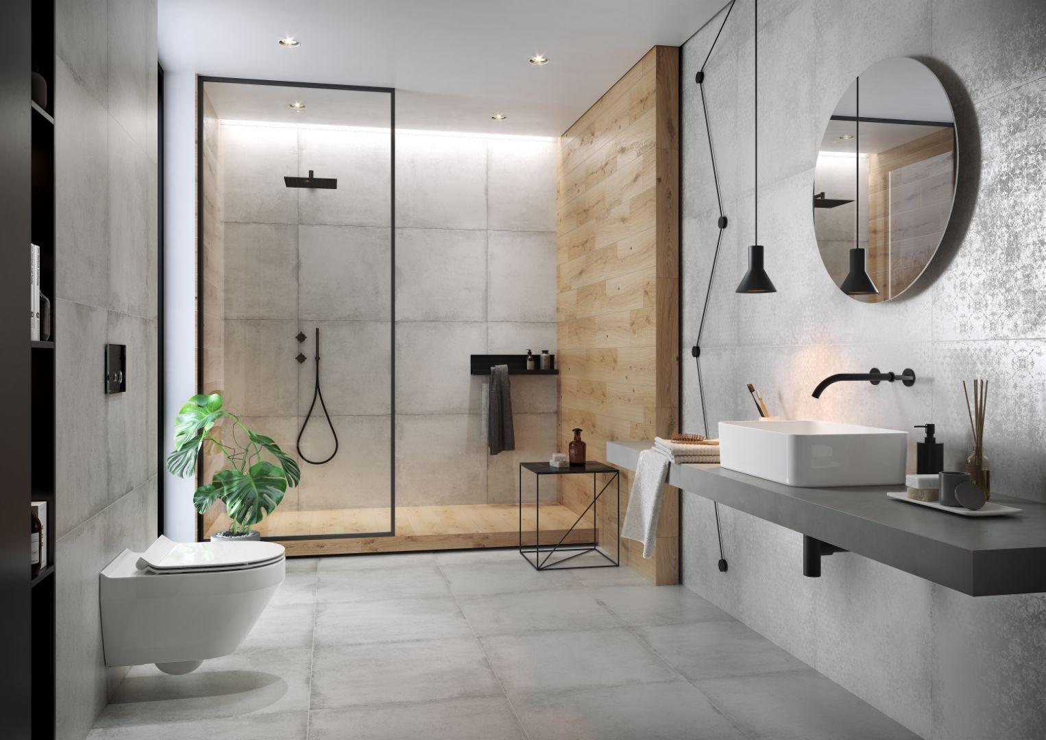 Płytki do łazienki z kolekcji Stormy pięknie imitujące beton. Dostępne w ofercie firmy Cersanit. Fot. Cersanit