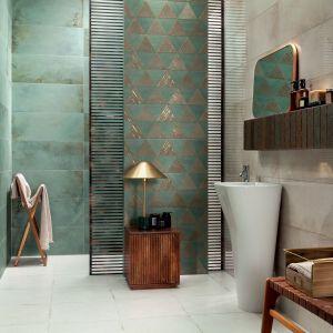 Płytki do łazienki z kolekcji Goldgreen dostępne w ofercie firmy Ceramika Tubądzin. Fot. Ceramika Tubądzin