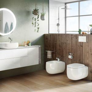 Okrągła ceramika z kolekcji Beyond marki Roca - łazienka w naturalnym stylu to coraz częściej widywany trend. Fot. Roca