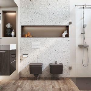 Coraz częściej w łazience spotyka się teraz także ceramikę w innym kolorze niż biały. Na zdjęciu piękna brązowa ceramika z kolekcji Inspira marki Roca. Fot. Roca