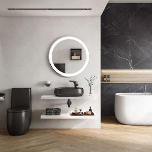 Czarna umywalka i wc oraz czarna armatura - nasze łazienki są coraz odważniejsze. Na zdjęciu kolekcja grafitowej ceramiki Beyond marki Roca. Fot. Roca