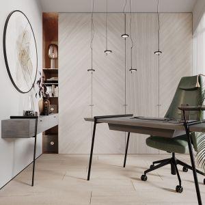 W gabinecie znajdujemy proste formy, ale charakterystyczne materiały. Projekt Modeko.studio
