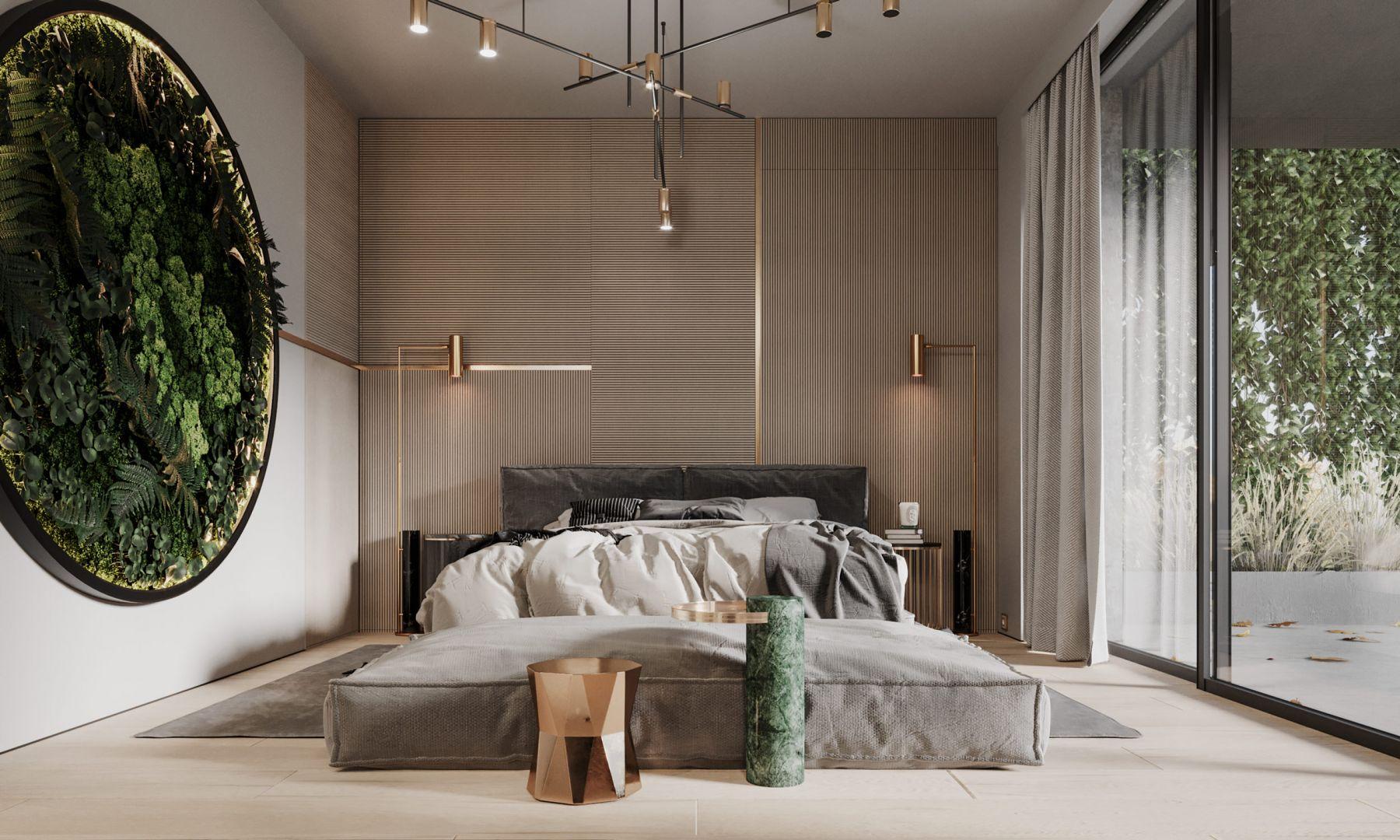 Główna sypialnia z własną garderobą oraz odrębną łazienką tworzy wygodną strefę master. Najważniejszym meblem jest tutaj oczywiście komfortowe łóżko (NOBONOBO), które uzyskało oprawę o bardzo graficznym charakterze. Projekt Modeko.studio