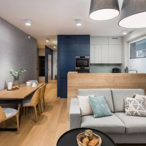 Strefa dzienna mieszkania to 24-metrowy salon połączony z aneksem kuchennym. Projekt InDe Projekt. Fot. Bartek Bieliński