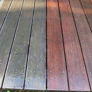 Konserwację tarasu z drewna zaczynamy od usunięcia brudu. Fot. JAF Polska