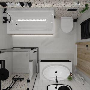 Łazienkowe trendy. Klasyczna biel miesza się w tym projekcie z równie konwencjonalną czernią, którą dumnie reprezentuje rama podłużnego lustra oraz komplet baterii, a także uchwyt zabudowy prysznicowej. Projekt: Justyna Nabielec. Fot. Luxrad
