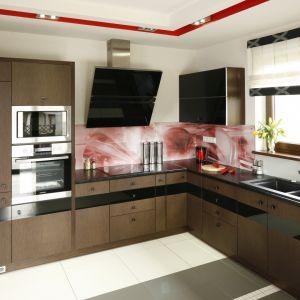 Ściana nad blatem w kuchni wykończona jest szkłem z kolorowym nadrukiem. Projekt: Małgorzata Denst. Fot. Pion PoziomProjekt: Marta Kilan. Fot. Bartosz Jarosz