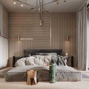 Luksusowa sypialnia z zieloną ścianą. Projekt Modeko.studio
