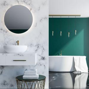Kamień Statuario jako okładzina ścian w łazience. Fot. Interstone