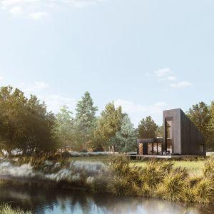 66-metrowy dom letniskowy w stylu nowoczesnej stodoły. Projekt: Yono Architecture. Wizualizacje: GID Studio