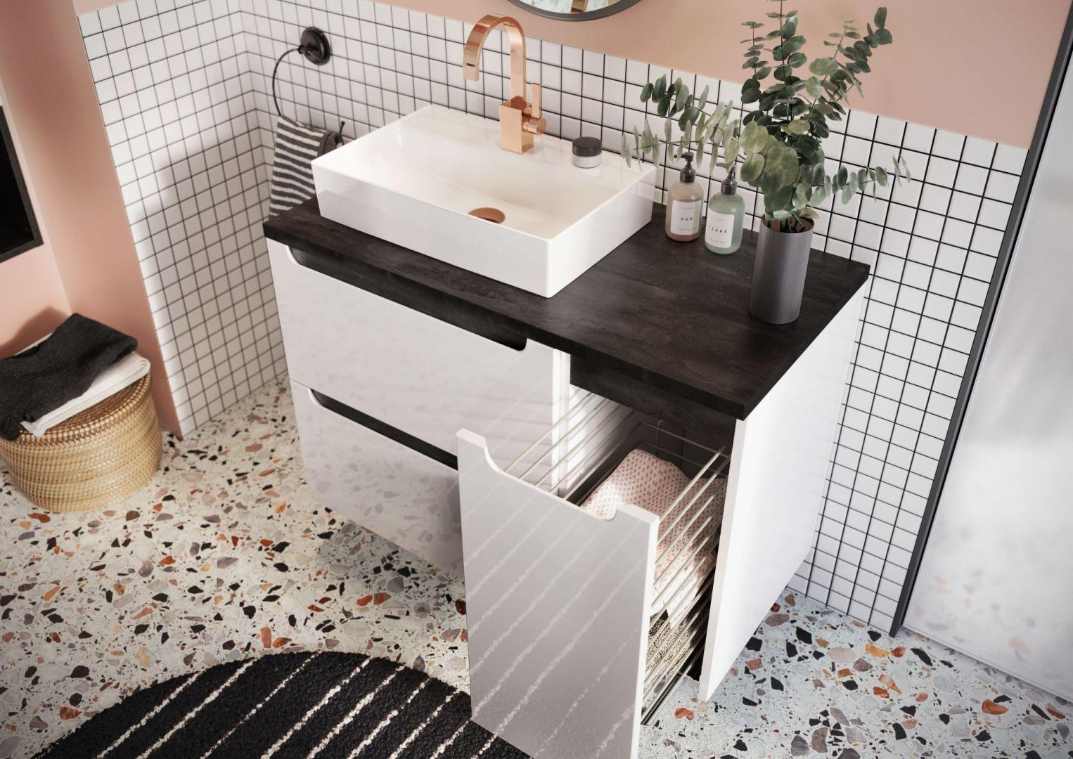 Całości zestawu dopełniają różne typy umywalek ceramicznych, konglomeratowych i szklanych. Fot. NAS