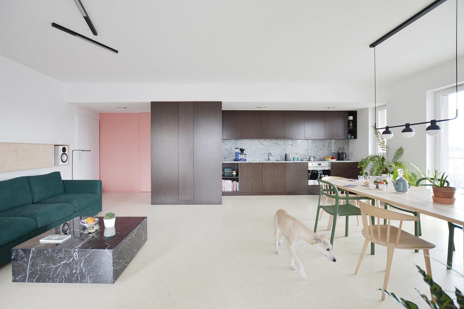 Mieszkanie składa się z części dziennej, która obejmuje otwartą kuchnię, salon oraz jadalnię, a także z sypialni połączonej z łazienką. Projekt: Grzegorz Layer. Fot. AQForm