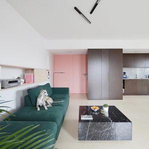 Aby mieszkanie sprawiało wrażenie przestronnego, architekt postawił na jasne powierzchnie ścian i podłóg oraz zabudowy meblowe w horyzontalnym układzie. Projekt: Grzegorz Layer. Fot. AQForm