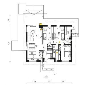 1. Wiatrołap 3.90 m² 2. Hol  5.39 m² 3. Kuchnia 12.75 m² 4. Spiżarnia 1.28 m² 5. Pokój dzienny + jadalnia 35.28 m² 6. Toaleta 1.70 m² 7. Korytarz 8.23 m² 8. Sypialnia 15.62 m² 9. Sypialnia 13.10 m² 10. Sypialnia 13.06 m² 11. Łazienka 9.23 m² 12. Pralnia 3.36 m² 13. Kotłownia 6.70 m²