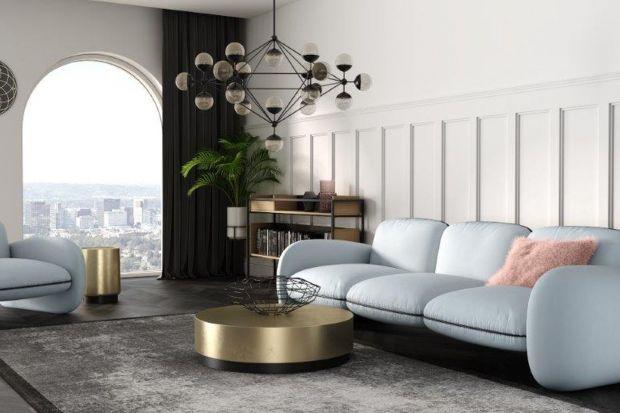 Futurystyczne krągłościi poduchowe siedziska składają się na nową kolekcję sof Oro, stworzoną przez polską markę Absynth.