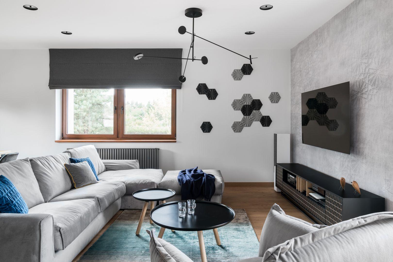 Ściana z telewizorem w salonie. Projekt Estera i Robert Sosnowscy. Fot. Fotomohito