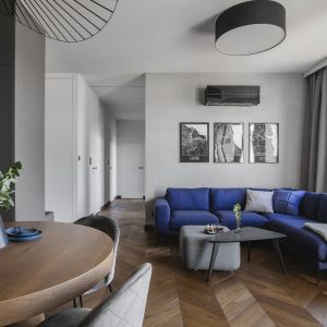 Ściany w salonie wykończone są farbą w szarym kolorze. Na tle szarości pięknie wyglądają czarno-białe grafiki. Projekt: make Architekci. Fot. Hanna Połczyńska, Kroniki Studio