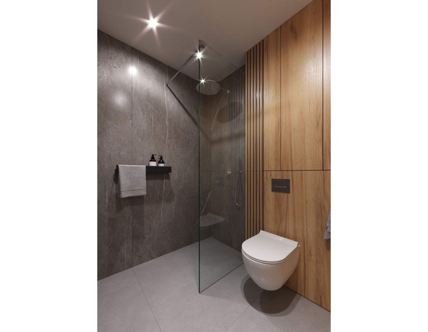 Prysznic, lustro i półka na przybory toaletowe to wystarczające rozwiązania dla niewielkiej rodziny.Projekt i wizualizacje: Tomasz Kaim, Agnieszka Drużkowska, kaim.work