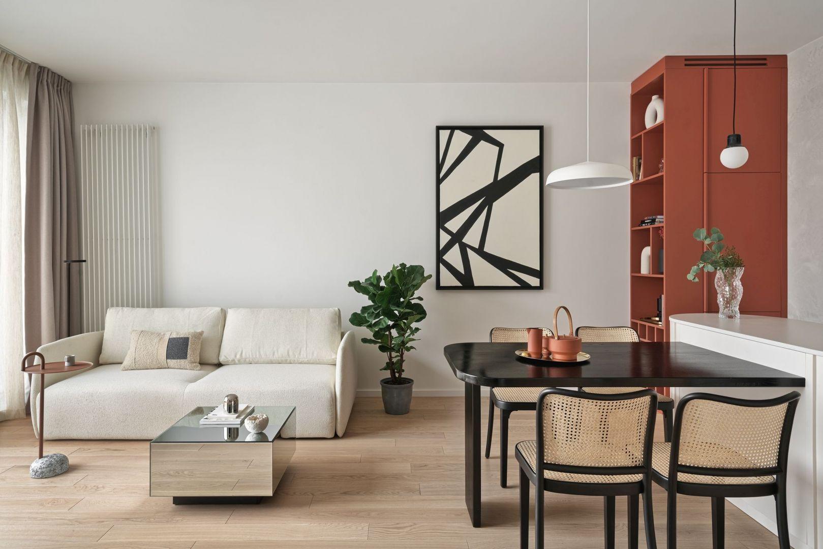 Mały salon z kuchnią. Projekt Studio Inbalance Fot. Tom Kurek