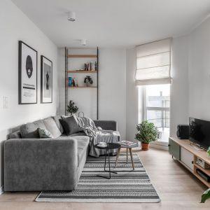 Mały salon w bloku urządzono w szarych kolorach. Projekt Raca Architekci. Fot. Fotomohito