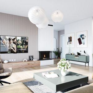 Budynek przy niewielkich wymiarach zewnętrznych rzutu zawiera w sobie bardzo wygodne do mieszkania wnętrze. Projekt: arch. Michał Gąsiorowski. Fot. MG Projekt