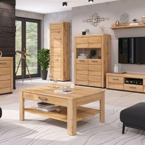 Meble do salonu w kolorze drewna z kolekcji Poldark. Dostępne w Salonach Agata. Fot. Salony Agata