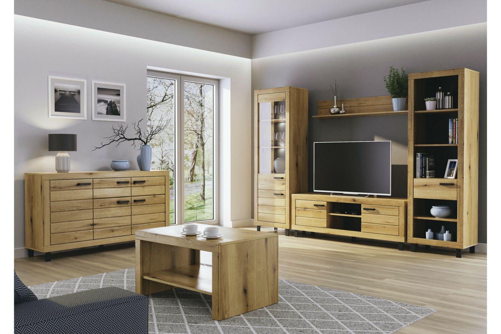 Meble do salonu w kolorze drewna z kolekcji Dever. Dostępne w Salonach Agata. Fot. Salony Agata