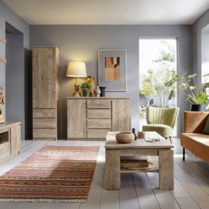 Meble do salonu w kolorze drewna z kolekcji Fribo. Dostępne w ofercie firmy Meble Wójcik. Fot. Meble Wójcik