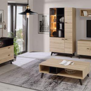 Meble do salonu w kolorze drewna z kolekcji Carea Exclusive. Dostępne w ofercie firmy Meble Forte. Fot. Meble Forte