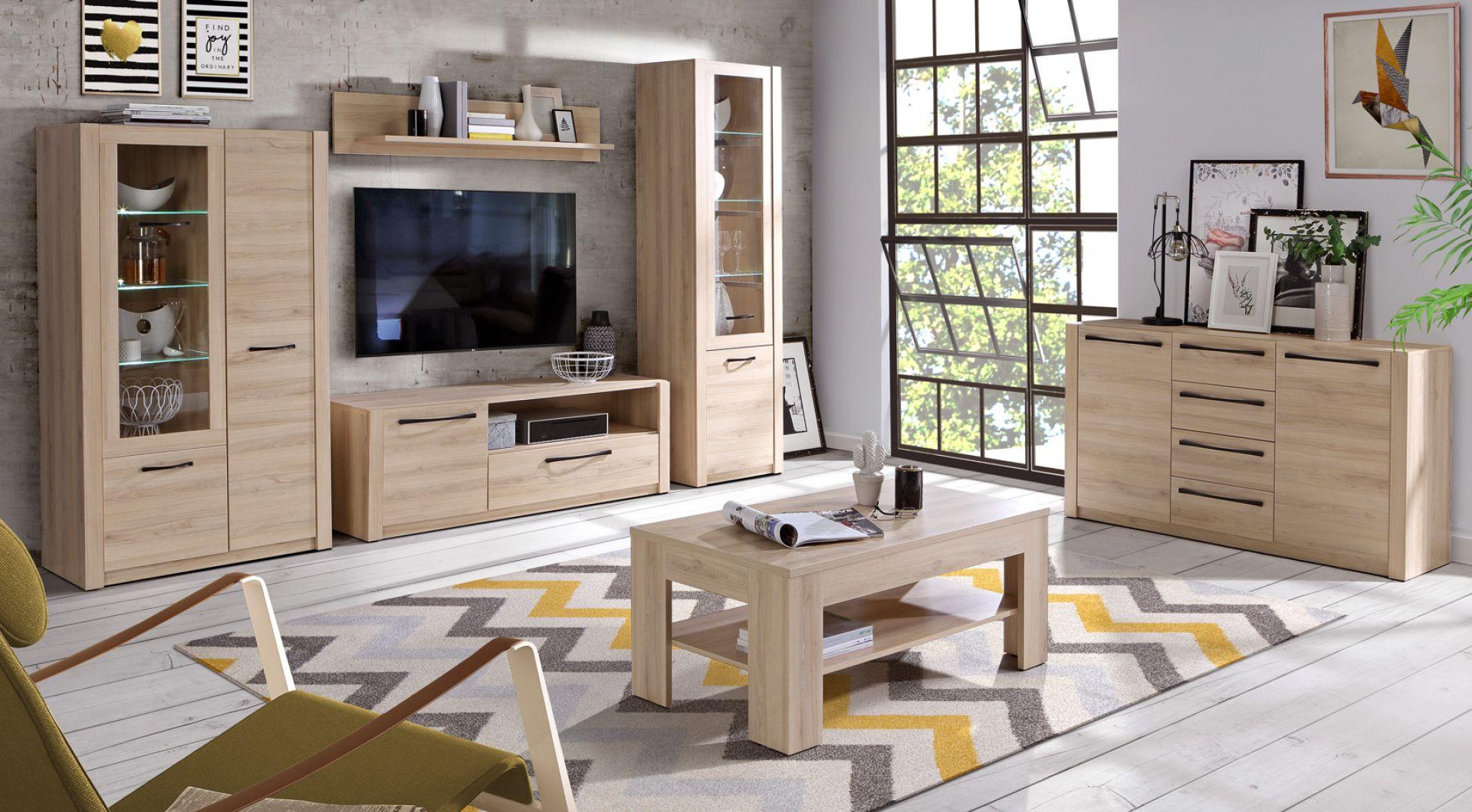 Meble do salonu w kolorze drewna z kolekcji Maximus 14. Dostępne w ofercie firmy Meble Forte. Fot. Meble Forte