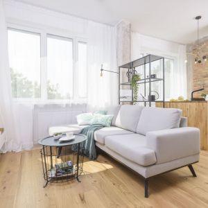 Biały salon z drewnem w małym mieszkaniu. Projekt i zdjęcia: Katarzyna Kiełek, Agnieszka Komorowska-Różycka