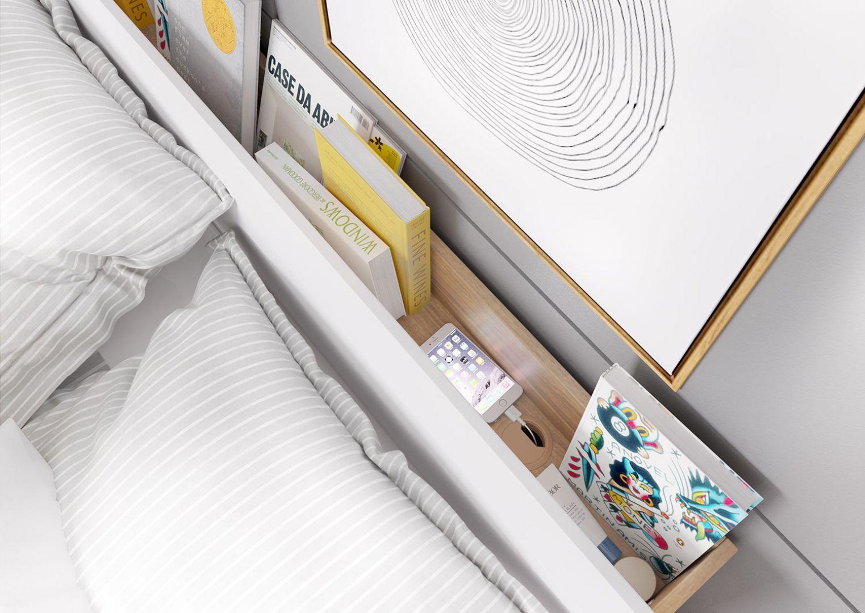 Półka w zagłówku łóżka to świetne rozwiązanie do małych sypialni – z powodzeniem zastąpi stoliki nocne, na które nie zawsze jest miejsce. Fot. Dignet Lenart