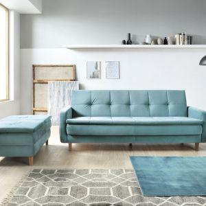 Sofa do małego salonu w niebieskim kolorze z kolekcji Snap. Dostępny w ofercie firmy Sweet Sit. Fot. Sweet Sit