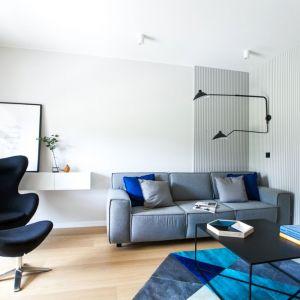Grantowy fotele w nowoczesnym salonie. Projekt: Sandra Maculewicz. Fot. Łukasz Pepol