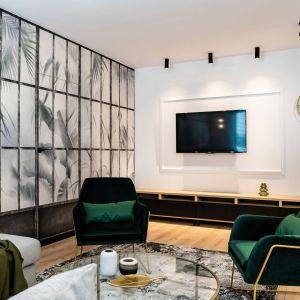 Zielony fotel w jasnym salonie. Projekt: DG Studio Donata Gadalska. Fot. Jacek Fabiszewski