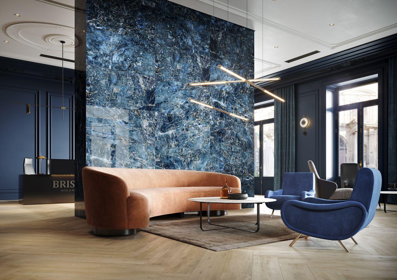 Odcienie niebieskiego to coraz popularniejszy pomysł na ścianę w salonie. Trwałym i dobrym rozwiązaniem będą wielkoformatowe płytki ceramiczne, które pomogą wyczarować oryginalny i bardzo dekoracyjny wystrój wnętrza. Na zdjęciu kolekcja Color Crush marki Opoczno. Fot. Opoczno