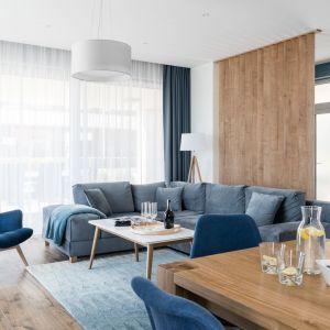 Salon w chłodnych barwach z gamy niebieskiej warto ocieplić ponadczasowym drewnem. Projekt: Studio Projekt. Fot. Fotomohito
