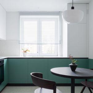 Akcentem, który przełamuje tę stonowaną kompozycję w salonie są szafki kuchenne w odcieniach zieleni. Projekt: pracowni 3XEL. Fot. Dariusz Jarząbek