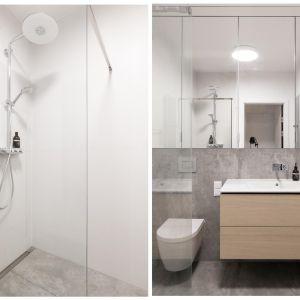 Dzięki umieszczeniu w łazience luster, pomieszczenie, które liczy niespełna 5 m², zostało optycznie powiększone i podwyższone. Realizacja i zdjęcia: MÁS Estudio