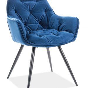 Krzesło Cherry Velvet Signal, Siedzisko z niebieskiej tkaniny. Cena: 409.99. Sklep Komfort