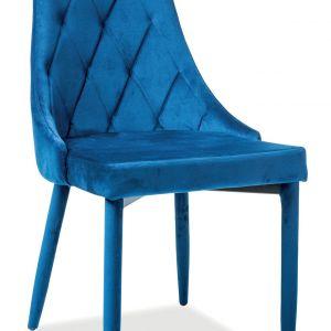 Granatowe welurowe krzesło Trix marki Signal, dostępne w sieci Komfort. Cena: 349,99 zł. Komfort