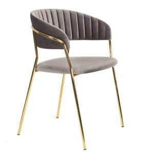 Welurowe szare krzesło Lira Homla, bardzo dekoracyjne, ze złotymi nogami. Cena: 399,20 zł. Homla