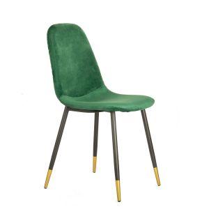 Welurowe krzesło Noir Miel Homla w kolorze butelkowej zieleni. Eleganckie czarno-złote nogi. Cena: 159,20 zł. Homla